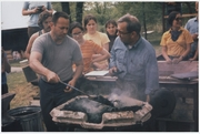Author photo. Fred Fenster and Alex Bealer at a blacksmithing workshop, 1970