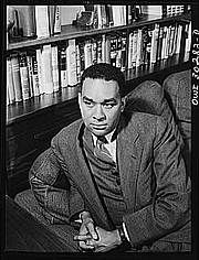 Author photo. Richard Wright (1908-1960)<br> Photograph by Gordon Parks, May 1943 <br>(Farm Security Administration-<br>Office of War Information Photograph Collection,<br> Library of Congress)