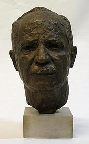 Author photo. Bust by Allen Harris (1924–1970)
