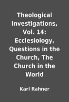 Theological Investigations, Vol. 14:…