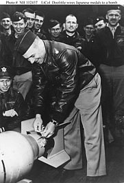"Author photo. Doolittle wires a Japanese medal to a bomb, for ""return"" to its originators in the first U.S. air raid on the Japanese Home Islands, April 1942.