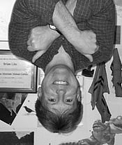 Author photo. Brian Lies (Pretending to be a bat) ~ Photo by Laurel Keith