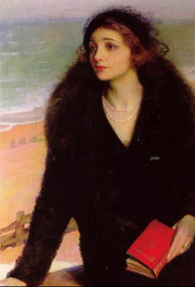 """Author photo. """"Ursula Bloom on the Promenade at Walton-on-the-Naze"""" (1932) by Charles A. Buchel (1892-1984)."""