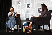 Author photo. Joyce Carol Oates gives a presentation on the Fiction Stage at the National Book Festival, August 31, 2019. Photo by Shawn Miller/Library of Congress.