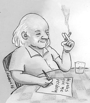 Author photo. Caricature of Vinicius de Moraes by André Koehne.