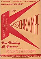 Der Klassenkampf. 5. Jahrgang. Nummer 20.…