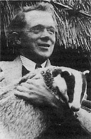 Author photo. Ralph Whitlock with pet badger.