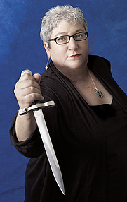 Author photo. Author Jeri Westerson gets medieval.
