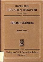 Weisheit Salomos by Johannes Fichtner