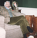 "Author photo. Donleavy in his study at Levington Park, Ireland. Taken during ""Only for the Moment Am I Saying Nothing: An Interview with JP Donleavy"" by Thomas E. Kennedy. Used by permission."