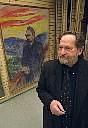 Author photo. Arne Eggum in the Munch Museum in Oslo, in front of Munch portrait of Nietzsche.