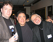 Author photo. Larry Hama (center) with Ron Hogan and Chris Claremont (right)<br>  at the Science Fiction Writers of America annual reception in New York City, 2006<br>Copyright © 2006 <a href=&quot;http://ronhogan.tumblr.com&quot;>Ron Hogan</a>