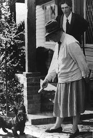 Author photo. Caroline Spurgeon and Jock (Virginia Gildersleeve in background)