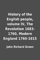 History of the English people, volume IV,…