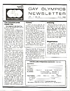 Gay Olympics Newsletter (Issue #8) The…