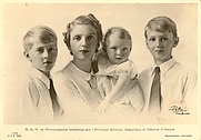 Author photo. Wikipedia, Prince Heinrich (left), with his mother Princess Mafalda and his brothers Otto and Moritz von Hessen