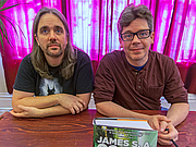 """Author photo. Ty Franck (left) and Daniel Abraham (right), together forming James S.A. Corey, at Borderlands Books in San Francisco, June 21, 2014 - by <a href=""""https://en.wikipedia.org/wiki/User:Elf"""" rel=""""nofollow"""" target=""""_top"""">Elf</a>"""