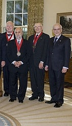 Author photo. James M. Buchanan (center right), National Humanities Award Ceremony 2006. Detail of White House Photograph by Paul Morse.