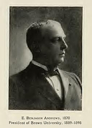 Author photo. Elisha Benjamin Andrews. From page 474 of Memories of Brown; traditions and recollections gathered from many sources (1909)