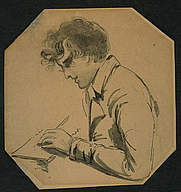 Author photo. Ink and wash self-portrait drawn 1783 <br>(Marian S. Carson Collection,<br> LoC Prints and Photographs Division, <br>LC-USZC4-6721)