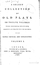 A Select Collection of Old Plays by Robert…