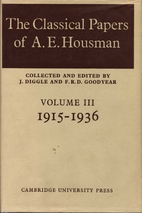The classical papers of A. E. Housman by A.…