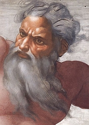 Author photo. Creation of the Sun and Moon by Michelangelo, face detail of God (Public domain ; Wikipedia)