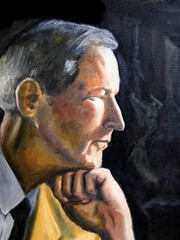 """Author photo. """"With Light from a New Dawn"""", painting by Eric Robert Morse, 2005, depicting Jacques Barzun in profile at around the age of 40"""