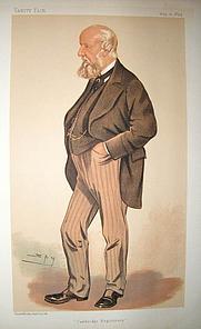 Author photo. 'Spy' cartoon of John Willis Clark