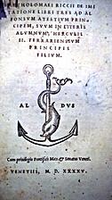 Bartholomaei Riccii De imitatione libri tres…