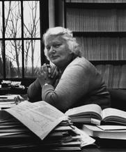 Author photo. 1990 Erika Böhm-Vitense, Univ. of WA Astronomy Professor Press Photo, cropped