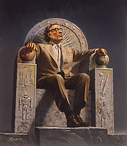 Author photo. Reproduction of an original painting by Rowena Morrill. It depicts Dr. Isaac Asimov enthroned with symbols of his life's work.