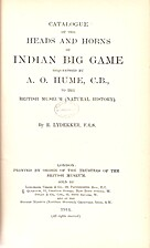 Catalogue of the Heads and Horns of Indian…