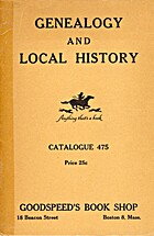 Genealogy and Local History: Catalogue 475