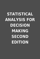 STATISTICAL ANALYSIS FOR DECISION MAKING…
