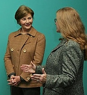 "Author photo. Virginia Mecklinburg and Laura Bush tour the exhibit ""Earl Cunningham's America.""  White House photo by Shealah Craighead."