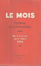 Le Mois n°110, Synthèse de l'activité…