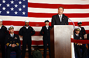 Author photo. Michael Reagan, eldest son of President Ronald Reagan, addresses Sailors assigned to the nuclear powered aircraft carrier Pre-commissioning Unit Ronald Reagan (CVN 76), named in honor of the nations 40th President.