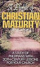 A Profile of Christian Maturity: A Study of…
