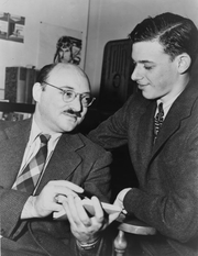 "Author photo. Frederic Dannay (left, one half of ""Ellery Queen"") with James Yaffe, World Telegram & Sun photo by Al Aumuller, 1943 (Library of Congress Prints and Photographs Division, LC-USZ62-126102)"