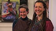Author photo. Karin Altmann with interview partner Barbara Pönighaus-Matuella of the Weltmuseum Wien at book presentation in Vienna [photo by John Douglas Marshall]