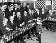 Author photo. Chess prodigy Samuel Reshevsky (Szmul Rzeszewski / Самуэль Герман Решевский)aged 8, defeating several chess masters in France