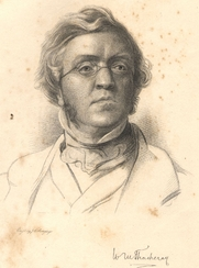 "Author photo. Frontispiece to Works of Wiliam Makepiece Thackeray Vol. 6 (1898) ""From a Drawing by Samuel Lawrence"""