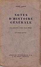 Notes d'histoire générale (Cours…