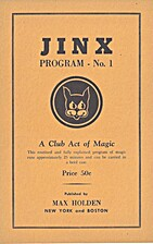 JINX Program No 1: a club act of magic by…