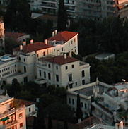 Author photo. Main building of the ASCSA as seen from Mount Lykavittos.  Photo by user athinaios / English Wikipedia.