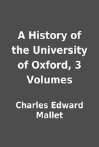 A History of the University of Oxford, 3…