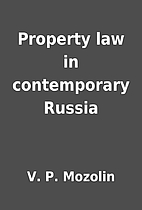 Property law in contemporary Russia by V. P.…