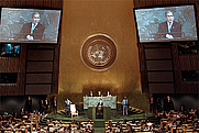 Author photo. President George W. Bush addresses the United Nations General Assembly Nov. 10, 2001. White House photo by Paul Morse.