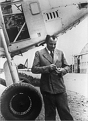 Author photo. French writer, poet, and pioneering aviator Antoine de Saint-Exupéry in Toulouse, France, 1933